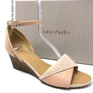 New FRANCO SARTO Dierdra sandal 8 blush pink wedge